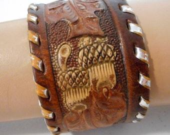 Acorn Leaf Wrist Cuff Bracelet Leather Reclaimed Silver Large Size Western Boho Unisex