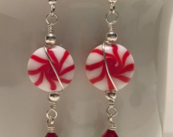 Earrings ~ Peppermint Candy ~ Christmas ~ Holidays ~ Red Green & Silver ~ Swarovski and Austrian Crystals ~ Wire Wrapped ~ Gift Boxed