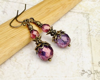 Victorian Earrings, Amethyst Earrings, Purple Earrings, Vintage Look Earrings, Czech Glass Beads, Bridal Earrings, Purple Vintage Earrings