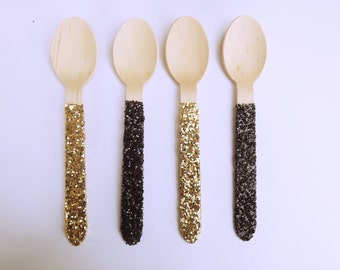 12 Black and Gold Glitter Wooden Spoons- biodegradable- New Years-60th anniversary