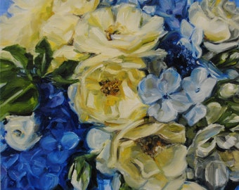 Blue Hydrangea 096 - Floral Oil Painting