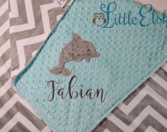 Dolphin Blanket, Personalized Baby Blanket, Personalized Dolphin Blanket, Minky Blanket, Minky Name Blanket, Choose Your Size & Colors