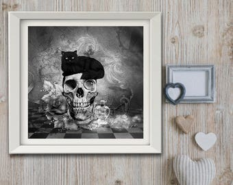 """"" Limited edition print signed and numbered: Gothic vintage Retro ""format 20 x 20"""