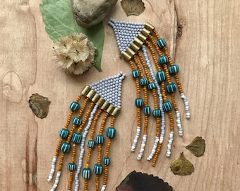 Gray and tumeric beaded dangle seed bead earrings, Valentine's Day gift for her