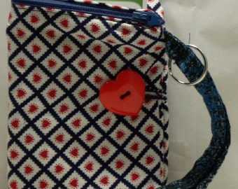 Hearts on a Checkered  Print Fabric Wallet with Wristlet and Keyring (149)