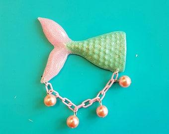 Mermaid Brooch, Mermaid Tail Pin, Vintage Style Mermaid, Vintage Lucite Jewelry, 1950s Style, Ocean Jewelry, Rockabilly Jewelry, Pin Up