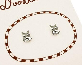 Schnauzer Earrings (Tiny), Schnauzer Jewelry, Tiny Earrings, Schnauzer Jewellery, Schnauzer Gifts, Dog Earrings, Dog Jewelry, Shrink Plastic