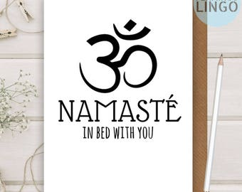 Funny Rude Namaste Birthday Greetings Greeting Card Wife Husband girlfriend boyfriend Flamingo Lingo personalised (A41)
