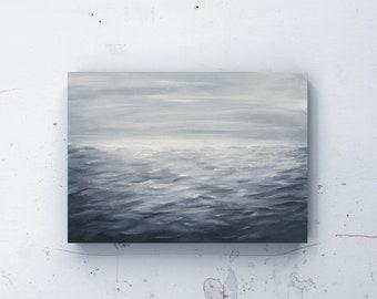 Original Seascape Oil Painting / contemporary wall art grey stormy sea