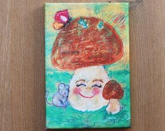 Mushroom print on canvas