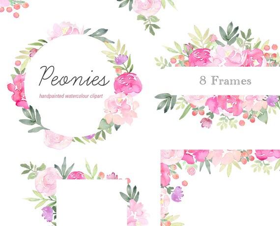 Floral Clip Art - Peonies Flower Frames, Pink Peony