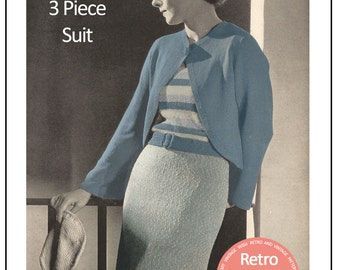 1930's  3 Piece Suit  Knitting Pattern - Instant Download - PDF Instant Download - PDF Knitting Pattern