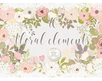 Premium Rustic wedding clipart, shabby chic clipart, Hand Drawn clipart,wedding clipart, flower clipart, vector flower
