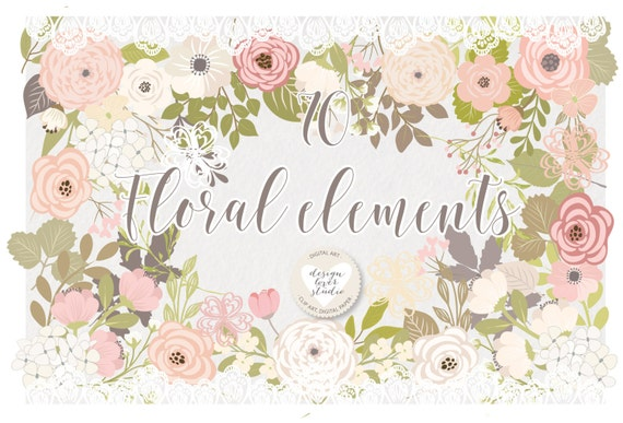 Premium Rustic Wedding Clipart Shabby Chic Hand Drawn Clipartwedding Flower Vector From Designloverstudio On Etsy Studio