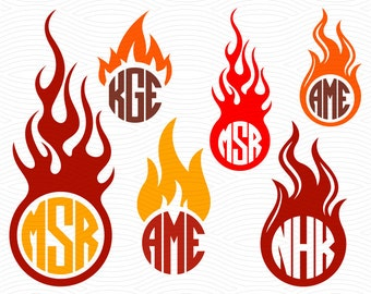 Flame Circle SVG Monogram Frames (Svg Eps Dxf Studio3) Fire Cut Files for use with Silhouette Studio, Cricut Design Space, Cutting Machines