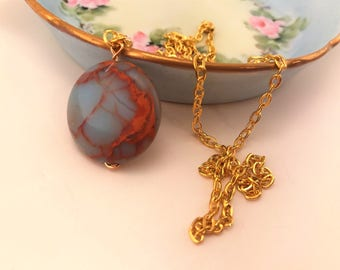 Jasper necklace. Long necklace. Stone necklace. Long gold necklace. Impression jasper, sea sediment jasper necklace. Jasper pendant.