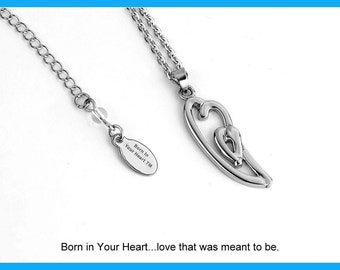 Modern Day Born In Your Heart Necklace, Double Heart Necklace, Inspirational Jewelry, Mother's Day Gift, Orphan Care, Foster The Family