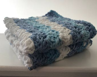 Blue and White Crochet Wash/Dish Cloths