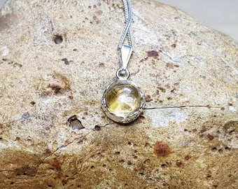 Small minimalist Citrine necklace. Sterling silver pendant. Reiki jewelry. November birthstone. 8mm yellow gemstone