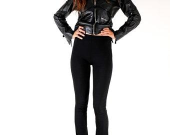 90s Leather Jacket/ Short Jacket / Zip Jacket / Patent Leather Jacket / Sexy leather Jacket / Women Leather Jacket / Size M