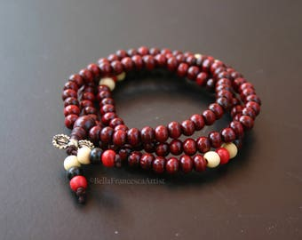 Mala Beads,Wood Necklace,Rosewood,Gift For Him,Gift For Her,108,6mm,Buddhist Prayer Bead,Vajra Charm,Bracelet,Zen,Rosary, Yoga Necklace