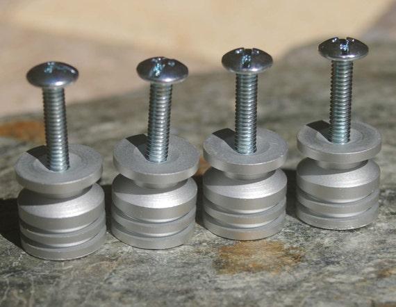 DIY Stone Cabinet Knob Kit Brushed Aluminum Base Set of