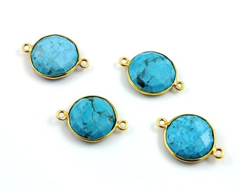 Natural TURQUOISE, Bezel  Turquoise Component, 24K Gold Vermeil Over Sterling Silver,  15mm, 1 Piece, (BZCT8101)