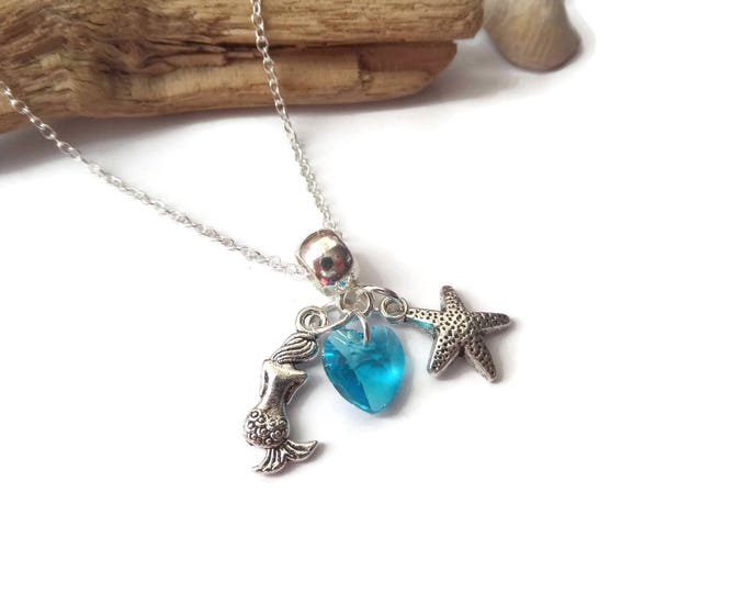 """ONCE UPON a TIME Ariel Mermaid inspired silver charm 20"""" necklace Ouat fan gift xmas mermaid party jewellery Uk"""