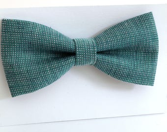 Blue linen bow tie, wedding necktie, linen necktie,  groomsmen necktie,  blue necktie, blue bow tie for men