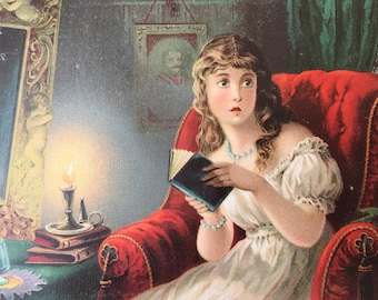 Victorian Scrap-Frightened Girl Reading by Candlelight