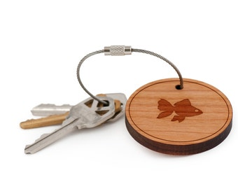 Goldfish Keychain, Wood Keychain, Custom Keychain, Gift For Him or Her, Wedding Gifts, Groomsman Gifts, and Personalized