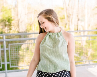 Rückenfreies Top Seersucker oben lose passen Sommer Baumwolle oben gestreiften Shirt Neckholder Boho ausgewaehlt Licht Farbe Kleidung