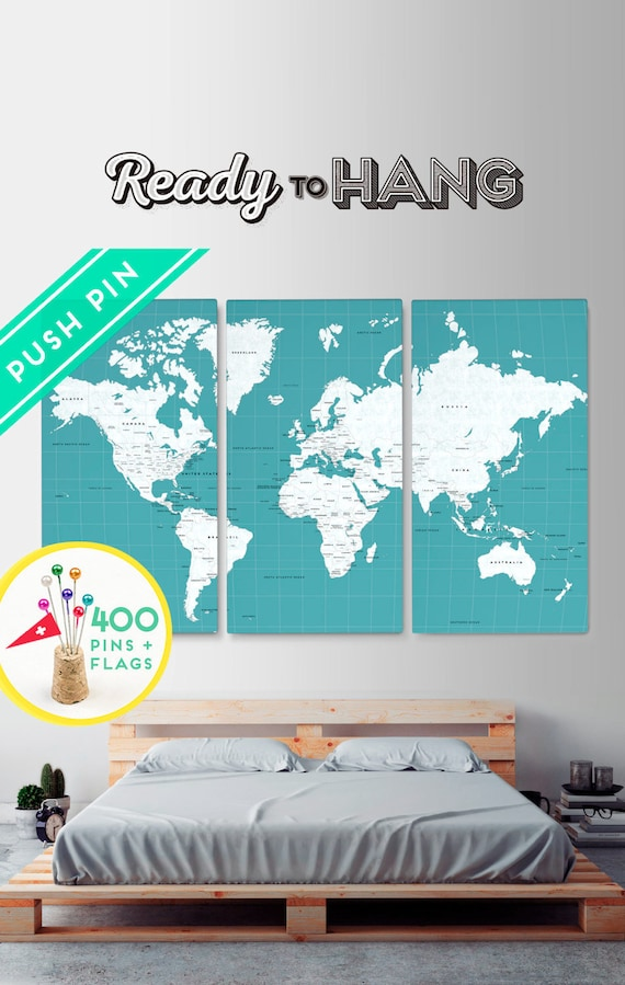 Free shipping canvas world map push pin map large size ocean gumiabroncs Images
