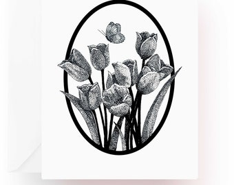 Pen and Ink Art, Flower Note Cards, Tulips Note Cards, Flower Lover Gift, Flower Stationery, Note Cards, Stationery, Floral Note Cards