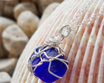 """Blue Passion Sea Glass / Lake Glass Necklace,""""OOAK"""" Ethical, Eco Friendly, Vegan, Sterling Silver Pendant Necklace"""