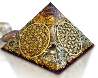 """Orgone Orgonite® Pyramid Orgone FLOWER OF LIFE """"The Source of Peace & Power"""""""
