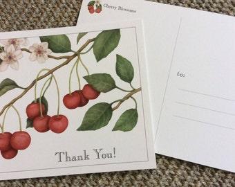 "Cherry Blossom Botanical ""Thank You"" Postcards"