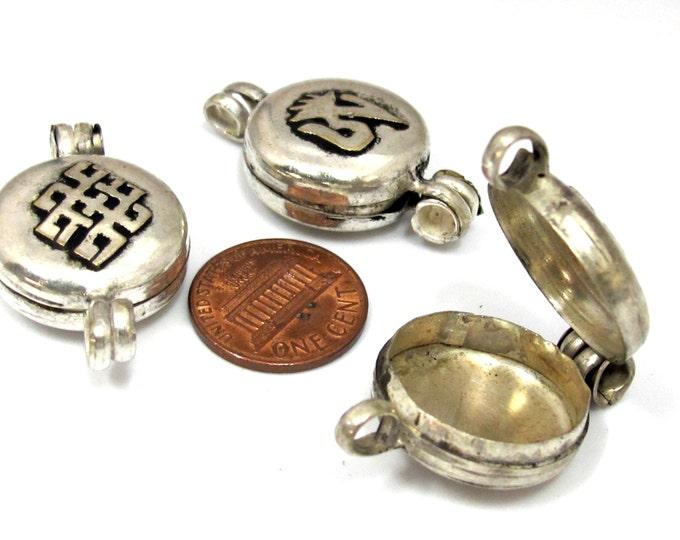 2 Pendants - Tibetan silver Ghau prayer box Om with endless knot small size pendant -PM459