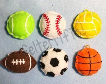 1 Dozen Handmade Felt Mini Sports Ball Ornaments