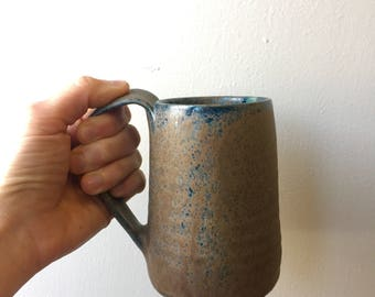 Large hand made mug, brown with blue & green highlights