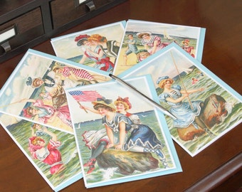 "Frameable 5x7 Greeting Card Set with ""Greetings from the Seaside"" artwork (6 Card Set with colored envelopes)"