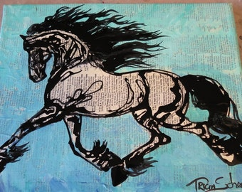 Blue Raspberry Float Friesian gestural fluid horse equine