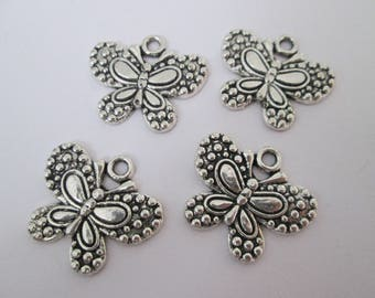 4 breloque papillon 22 x 20 mm en métal argenté