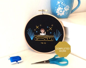 DJ hoop art. Handmade cross stitch Gift for a DJ or Dance fan. Hand embroidered work framed in embroidery hoop