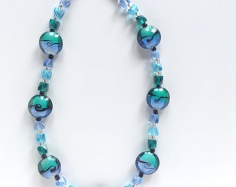 Aqua and teal wave necklace