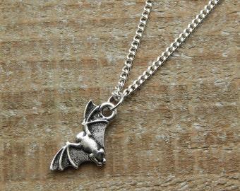 Bat Necklace, Bat Charm Pendant, Silver Bat Necklace,  Silver Charm Necklace, Gothic Necklace, Bat Jewellery, Silver Bat Charm