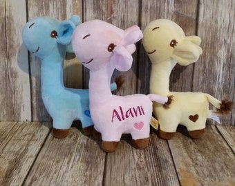 Personalized Stuffed Animal Giraffe with Name. Yellow, Blue, or Pink. 9 inch plush.