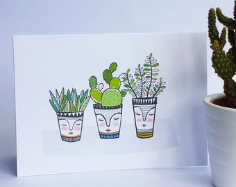 Three pots card , cacti in pots , cactus , people pots , new house , just to say , mother in laws tongue, bunny ears cactus