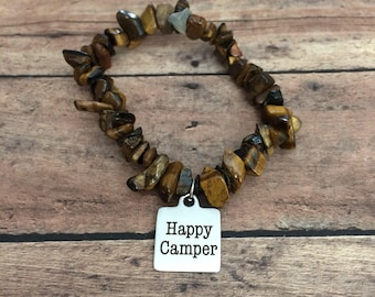 Happy Camper Bracelet, Outdoorsy Bracelet Happy Camper Jewelry Camping Jewelry Hiker Jewelry Great Outdoors Jewelry Outdoor Enthusiast gift