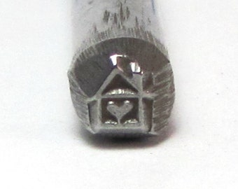 House heart  steel stamps 5mm x 4.5mm Romazone exclusive